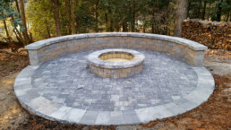 patio, fire pit and wall made of pavers