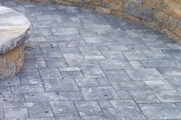 pavers patio, fire pit and wall